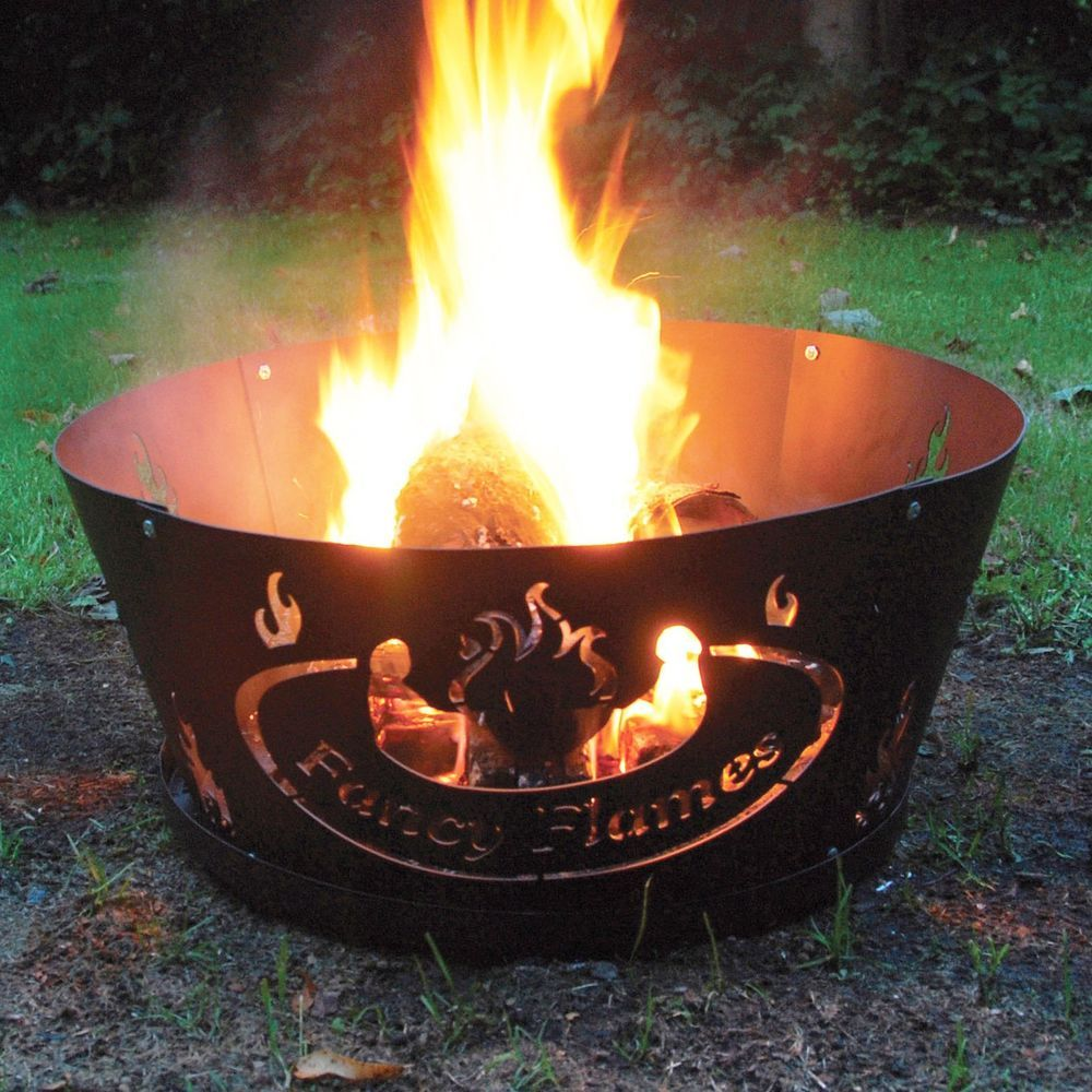 outdoor fire pit wood burning ring flames 24 in metal portable