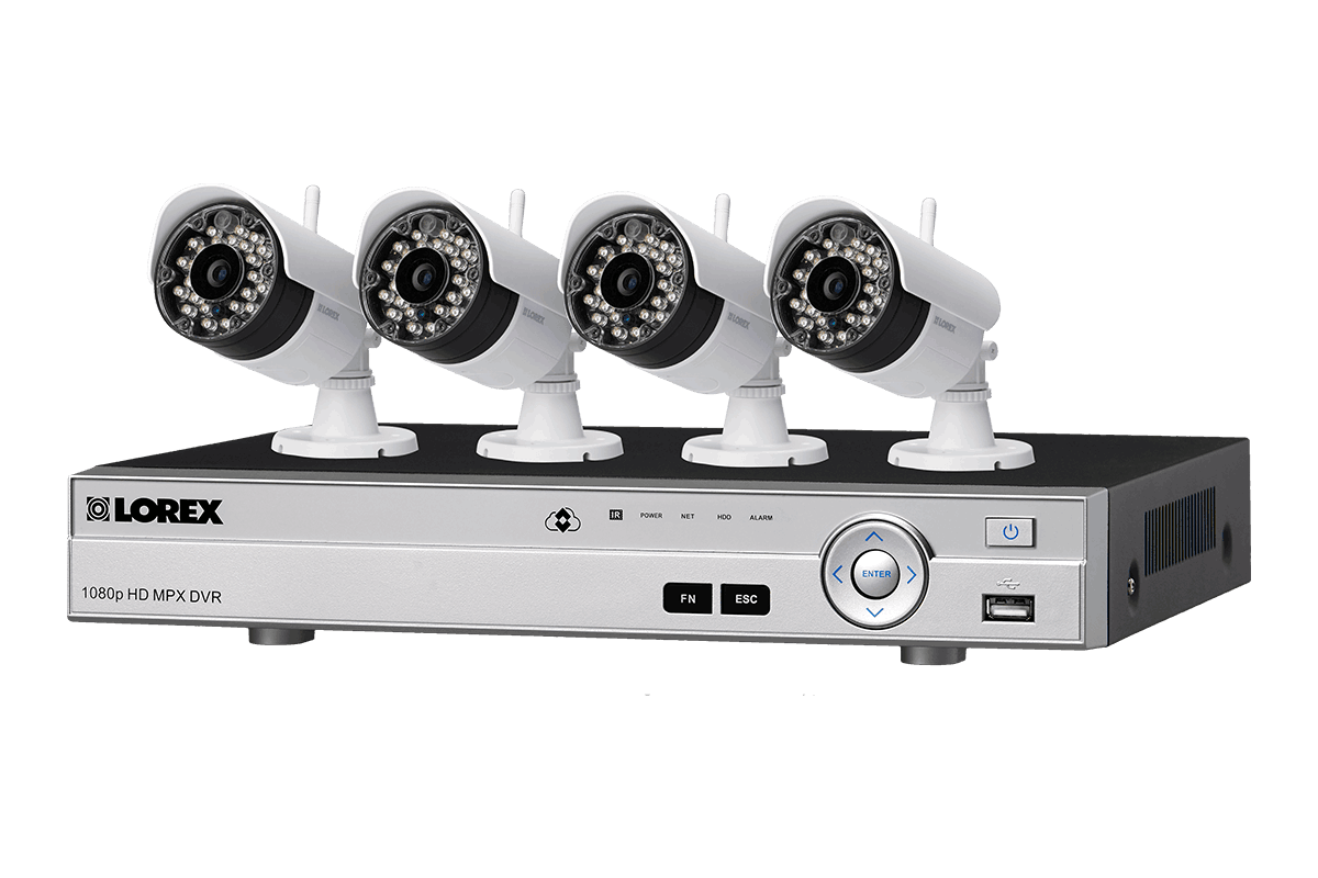 Wireless home security system with cameras featuring longrange