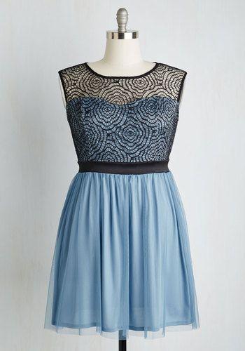 Starlet's Web Dress in Dusty Blue | Mod Retro Vintage Dresses | ModCloth.com