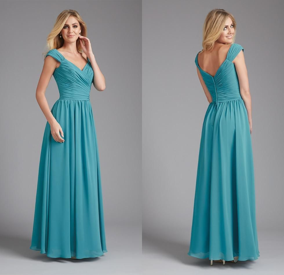 Modest teal blue short bridesmaid dresses chiffon with sleeves