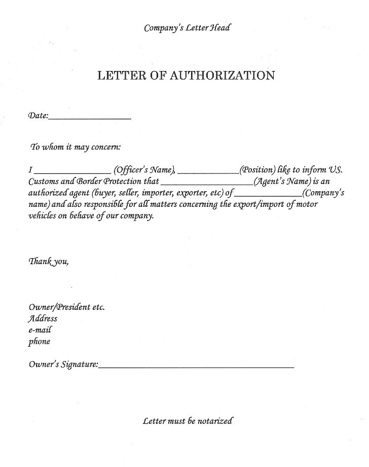 Authorization Letter Sample Authority Letter Template