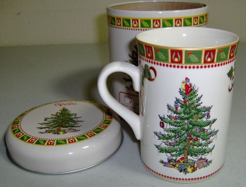 Spode Christmas Tree Coffee Cup Collectible Tin Holiday Spode
