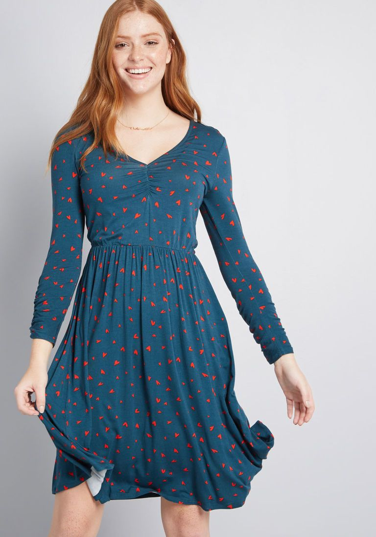 1db2bafb6054 Comfortably Curious Long Sleeve Dress in XS - A-line Knee Length by ModCloth