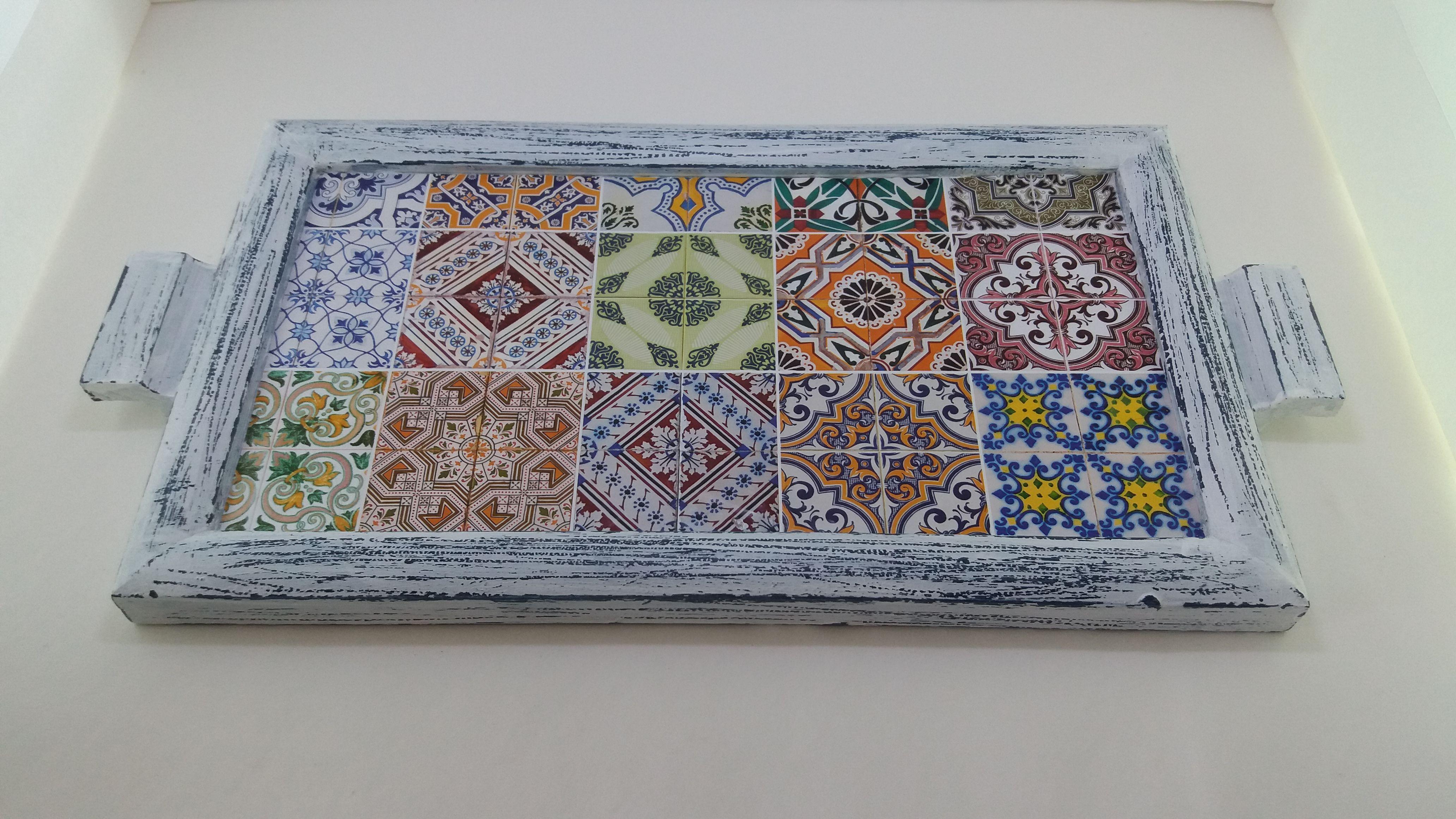 Bandeja pátina azul - www.elo7.com.br/esterartes