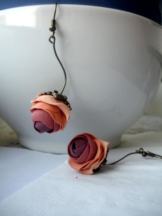 polymer clay roses earrings