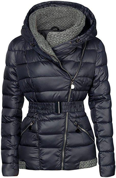 S'West Designer Damen Winter Jacke KURZ STEPP DAUNEN Optik Kapuze GEFÜTTERT Skijacke