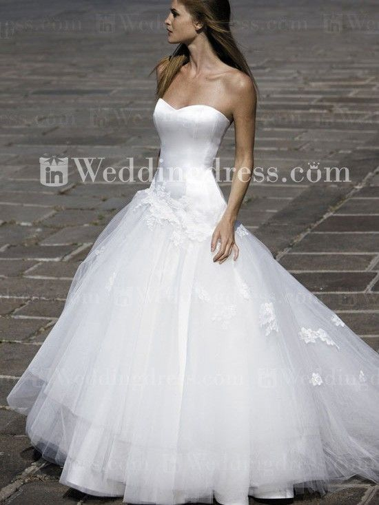 Strapless Satin Tulle Dropped Waist Ball Gown Wedding Dress Drop