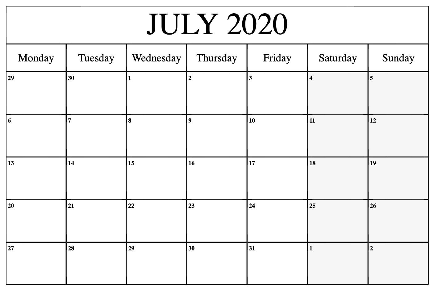 Free July 2020 Calendar Editable Blank Template In 2020