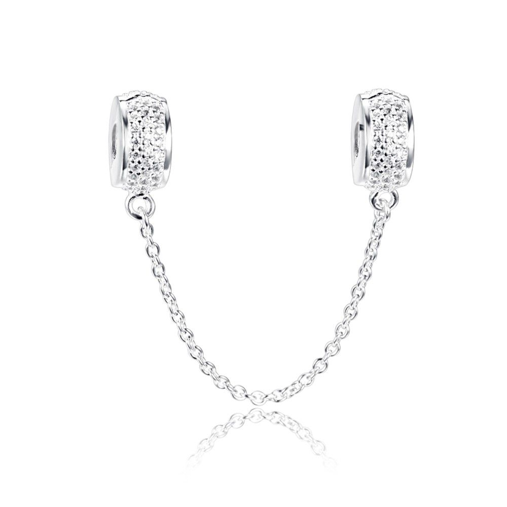 White April Birthstone Safety Chain Charm 925 Sterling Silver Fit All Brands