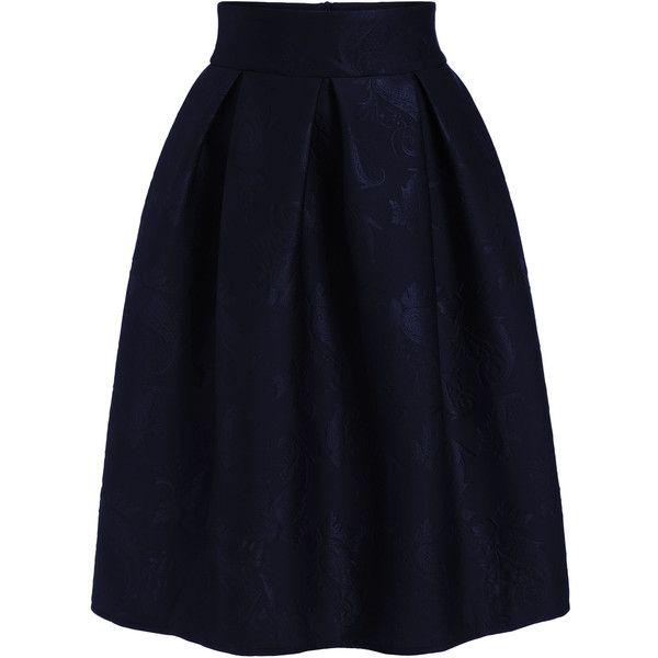 Jacquard Flare Midi Navy Skirt (350 ARS) ❤ liked on Polyvore featuring skirts, navy, navy blue skirt, midi flare skirt, knee length skirts, calf length skirts and blue skirt