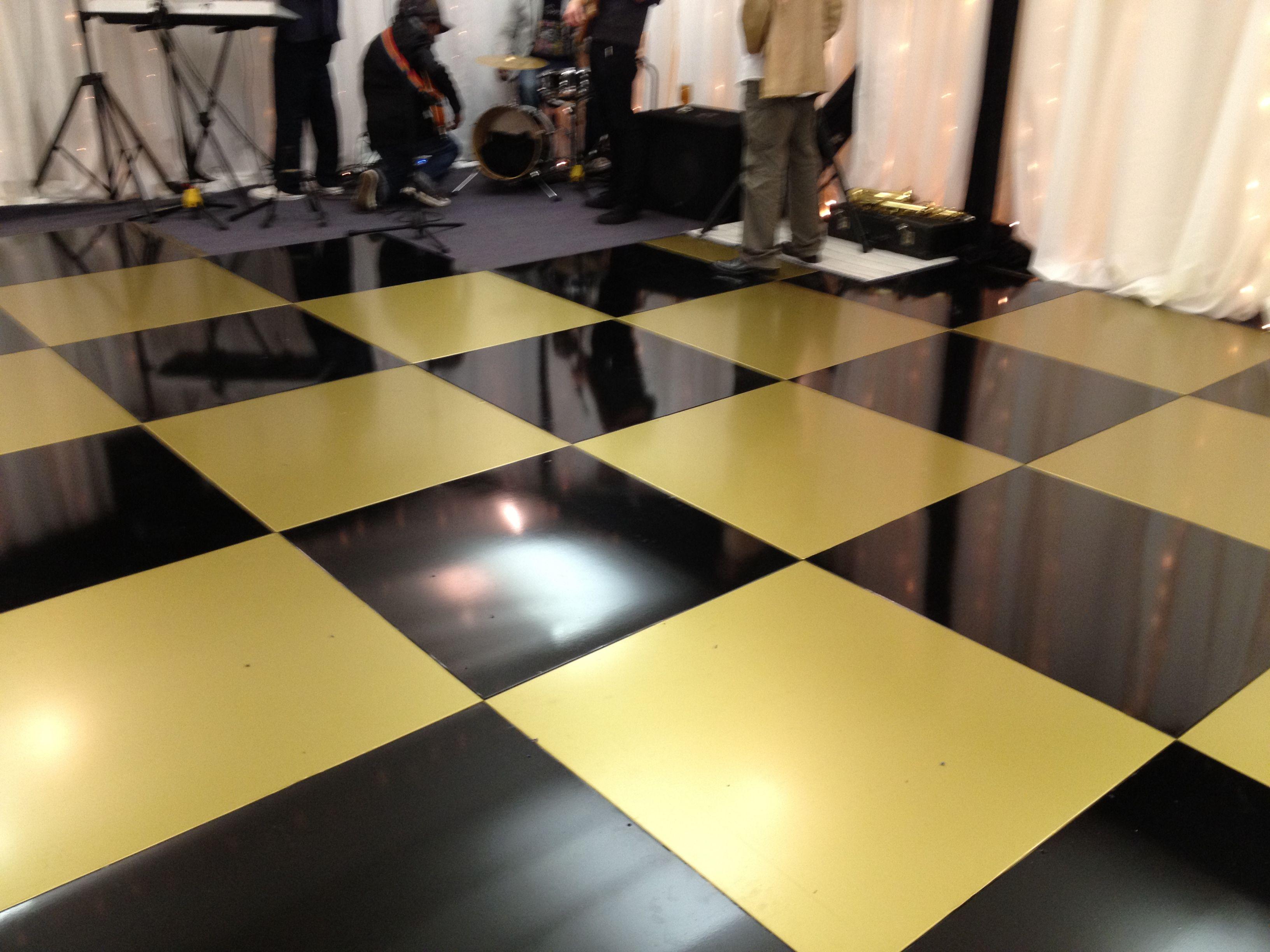 black gold check dance floor vinyl Colourful flooring