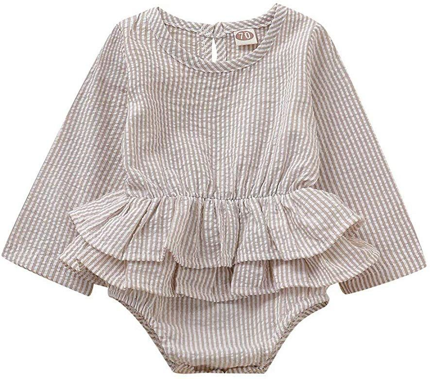 beauty-crystal Baby Newborn Girls Ruffle Design Jumpsuit Flare Sleeve Infant Casual Bodysuit Outfits