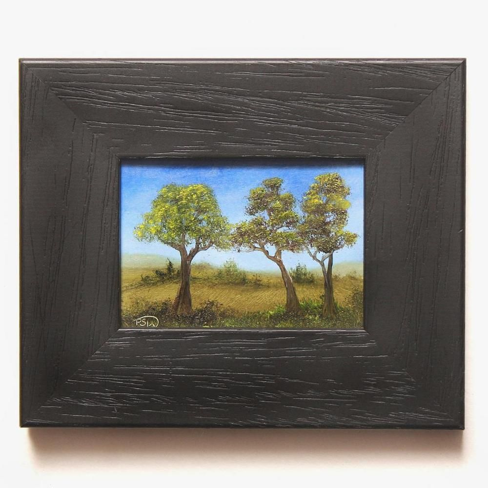 Pip Walters Signed Original Framed Aceo Oil Painting Three Tree S Ready 2 Hang Painting Oil Painting For Sale Hanging Art