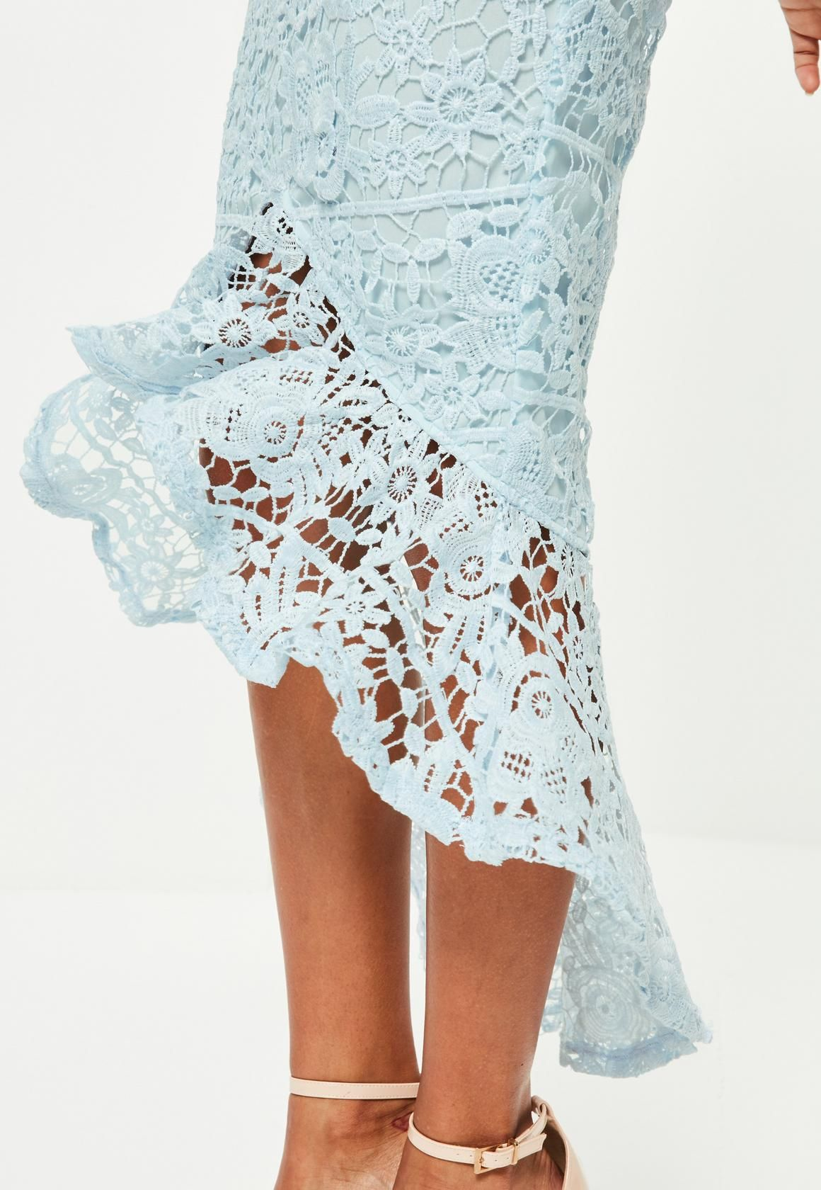 63b664a56d2e Missguided - Blue Lace High Neck Fishtail Midi Dress | Inspiration ...