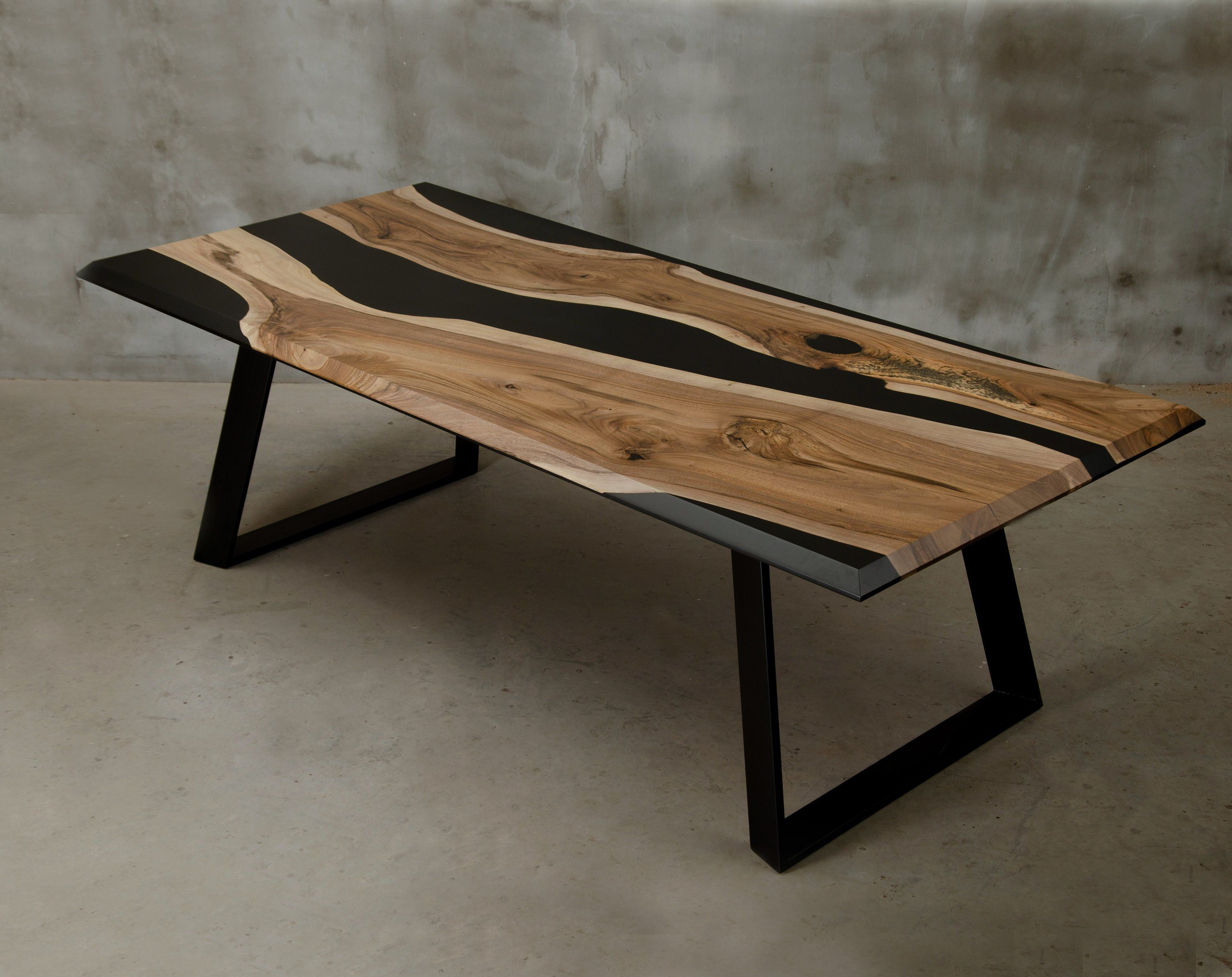 Custom Epoxy Table Made Of Walnut Wood And Black Resin Modern Live Edge Table Unique Resin Table In Industrial Style Conference Table Resin Table Live Edge Table Live Edge Coffee Table [ 2378 x 3000 Pixel ]