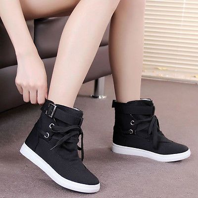 Women Girls Fashion High Top Canvas Sneakers Buckle Strap Creeper Flats  Shoes