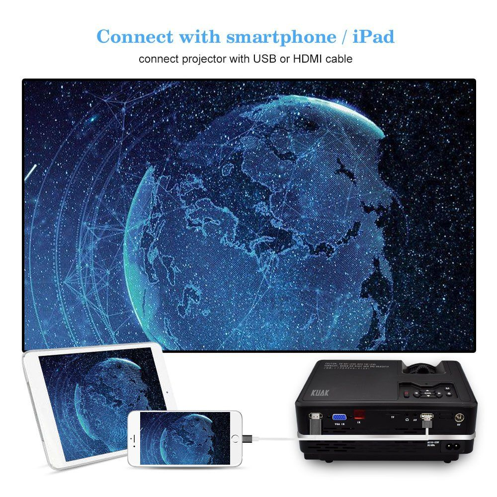 KUAK HT30 1800 Lumens LCD Projector Portable Mini Video Projector ...