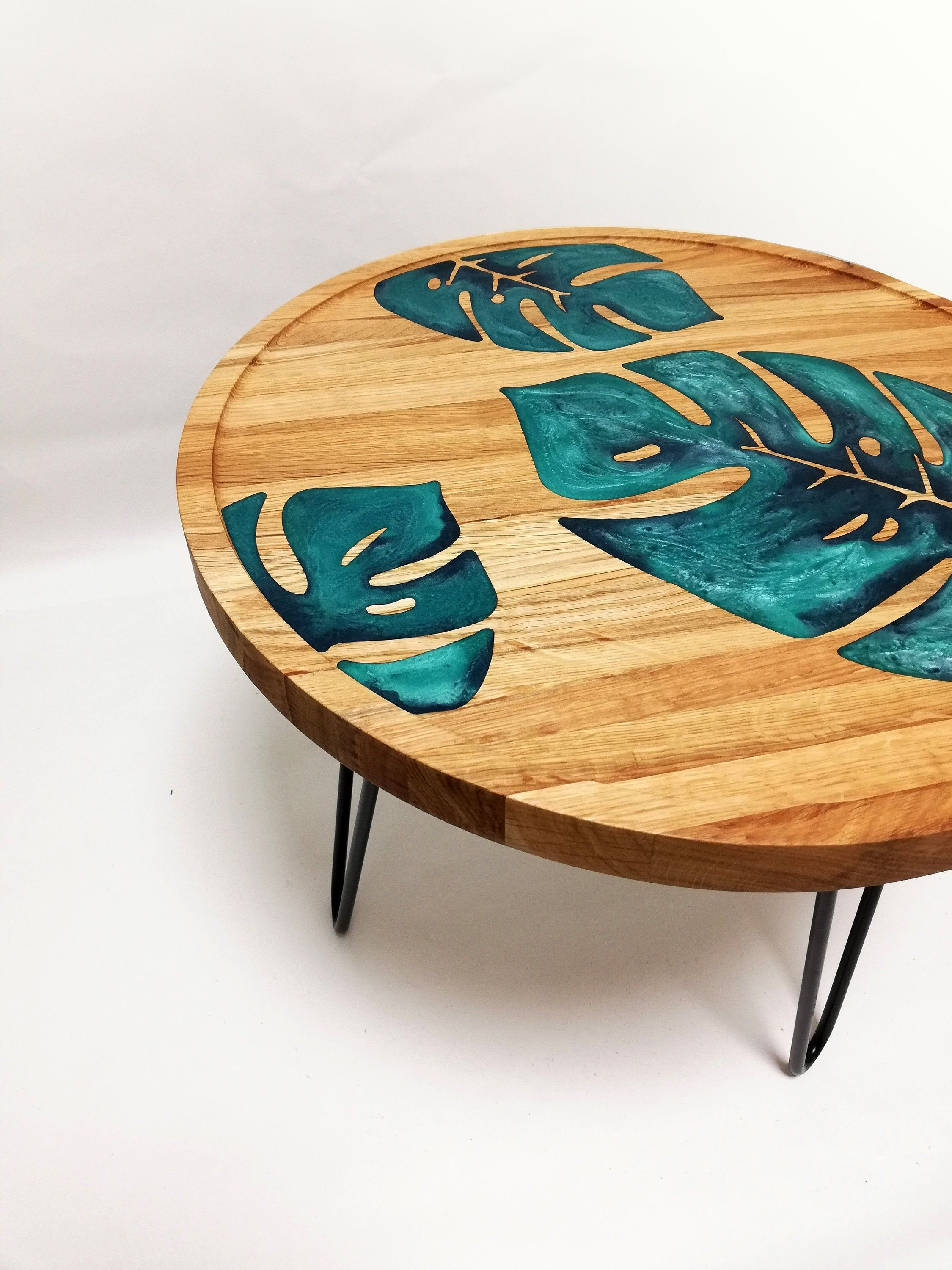 Monstera coffee table, Epoxy resin table, Decorative table, Modern interior accent, Housewarming gift, Wood table, Round table, Plant decor