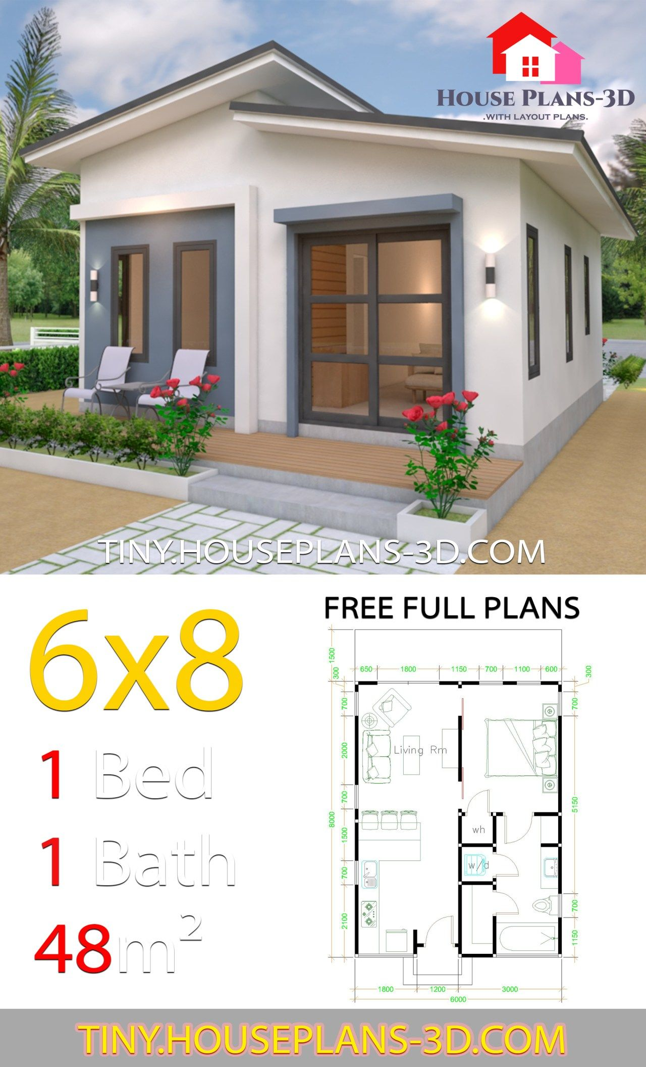 Studio House Plans 6x8 Shed Roof In 2020 Tiny House Plans Tiny House Floor Plans Small House Design