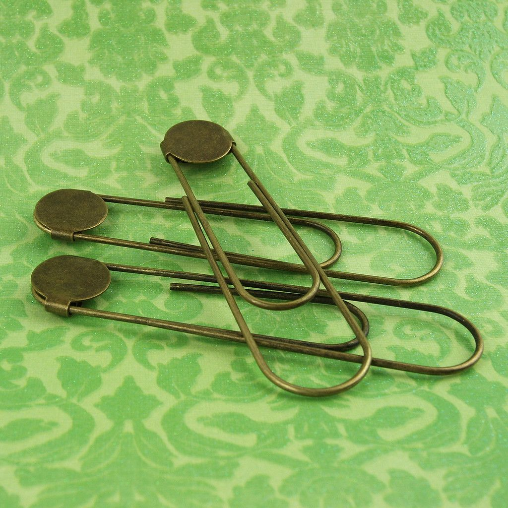 "100 ANTIQUE BRASS Jumbo Paper Clips Paperclips 3 1//2/"" Book Marks w// Glue Pads"
