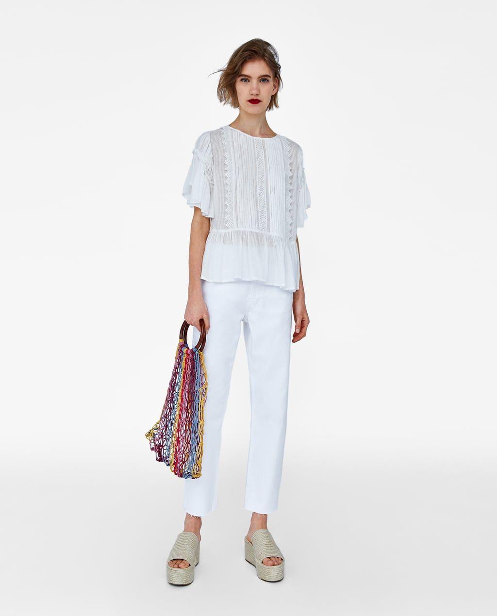 f7d2b566 Image 1 of FRILLED PLUMETIS BLOUSE from Zara Zara Women, Fashion 101, Swiss  Dot