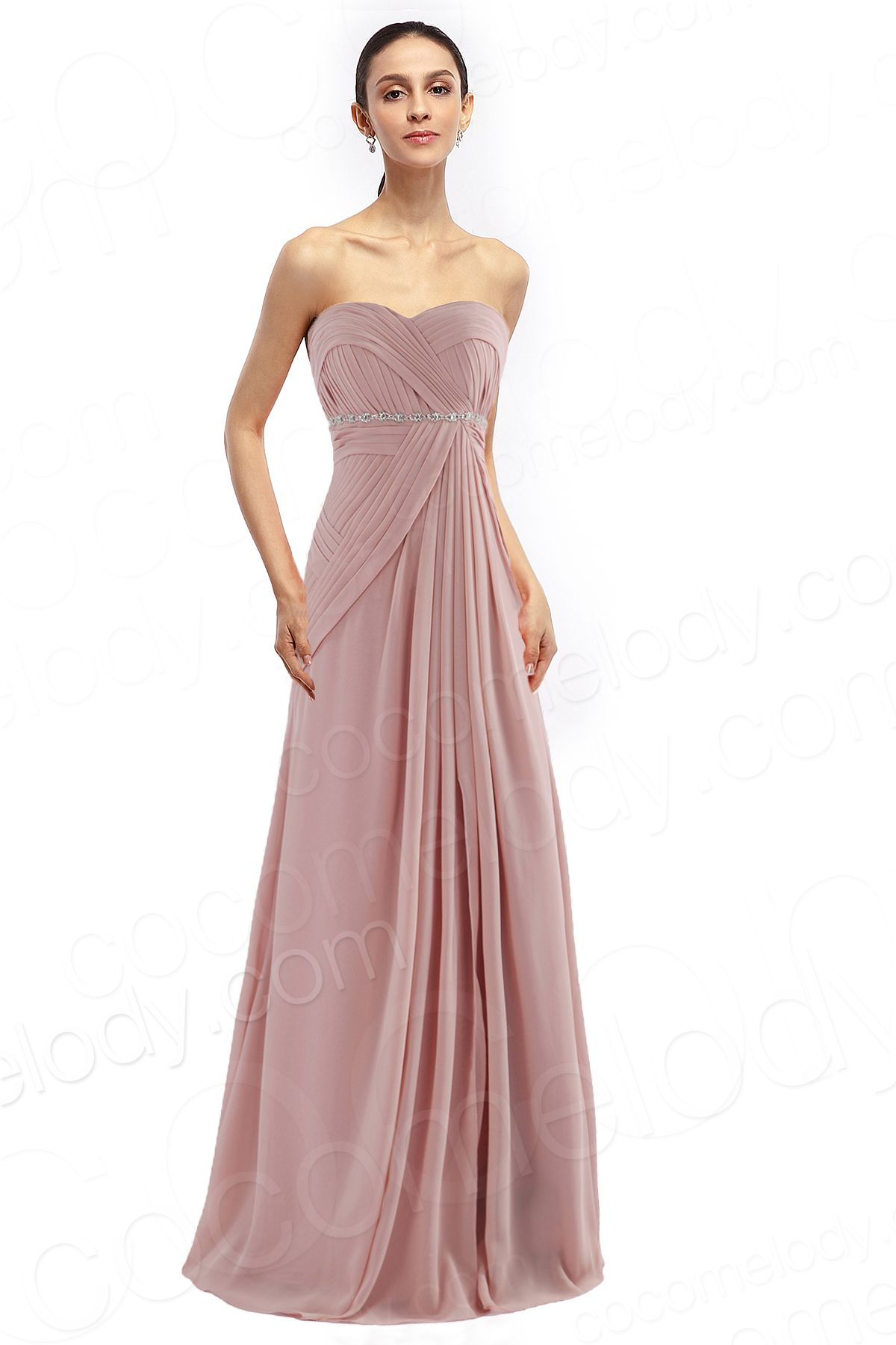 Latest Sheath-Column Sweetheart Natural Floor Length Chiffon ...