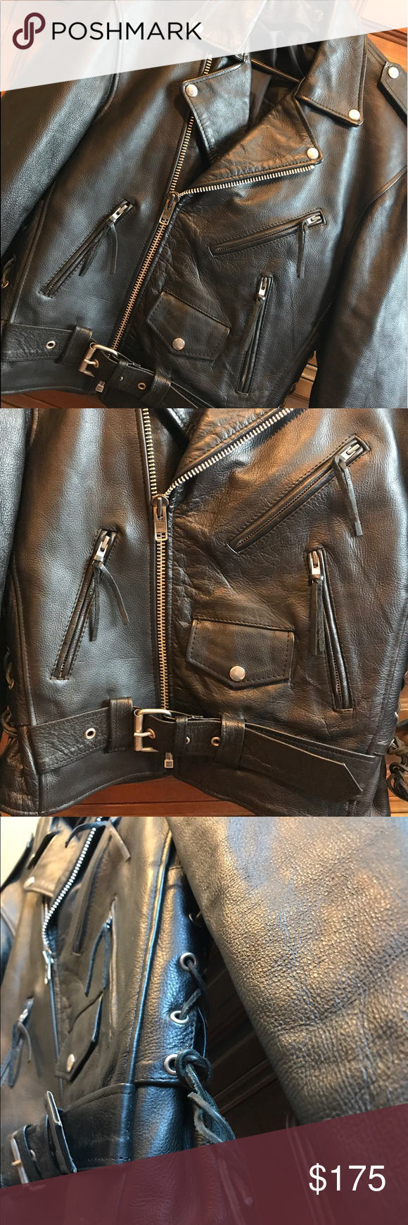Genuine Leather Moto Jacket 🖤 (con imágenes)