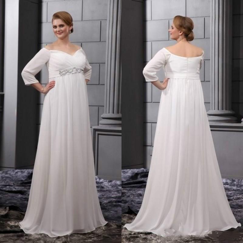 Simple Wedding Dresses Plus Size Pregnant Bride 2016 Off Shoulder ...