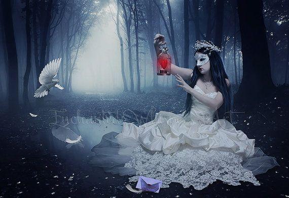 dark forest art gothic fantasy artworkfantasy woman artmasked woman artcaged