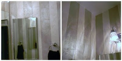 She used paintable,   textured wallpaper. She cut, painted, and   applied individual strips to create this look.   The paint has a opalescent finish and   it is stunning. The stripes give the already   high ceilings a never ending erethral look.