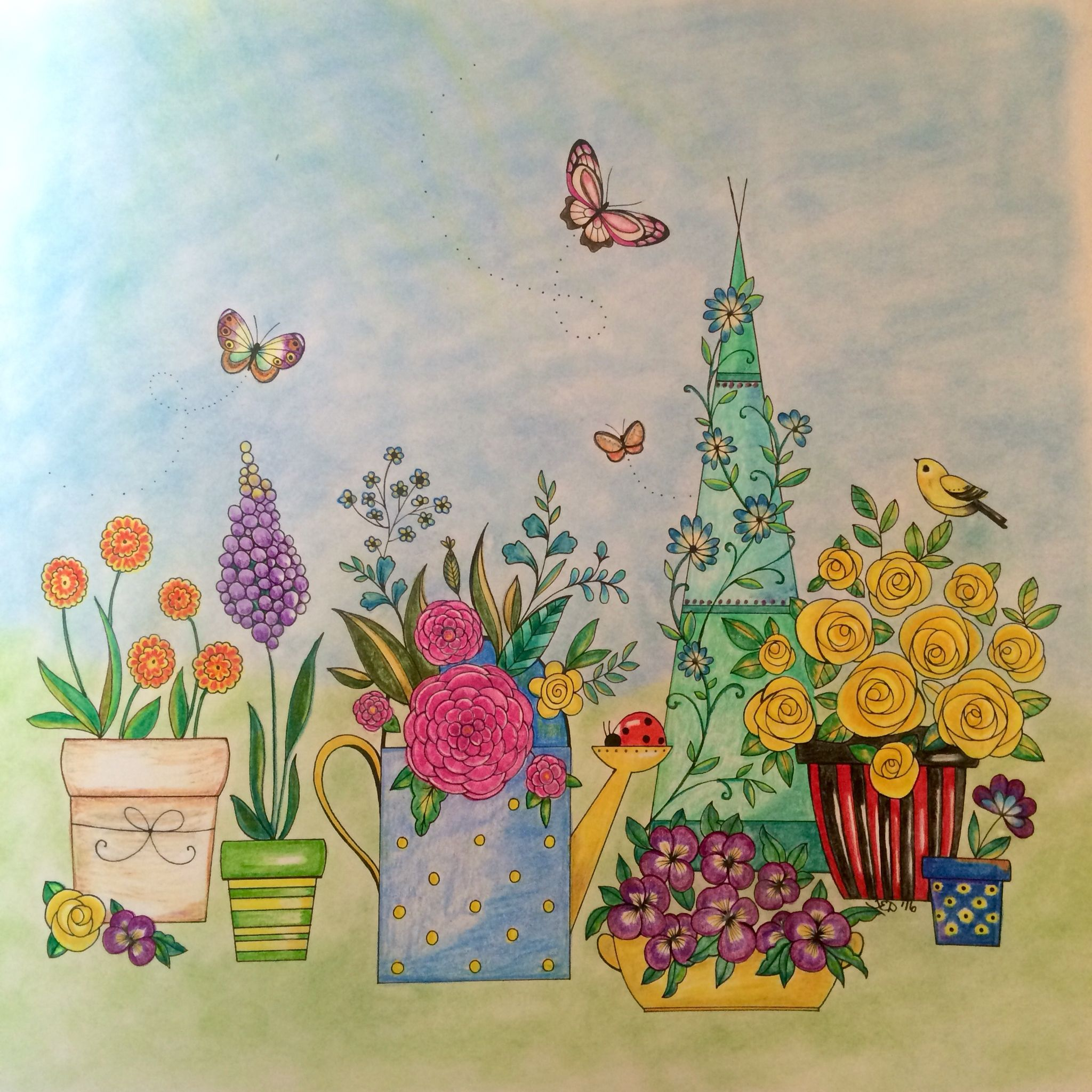 Joyous Blooms To Color Eleri Fowler Colored By Teresa Dodd