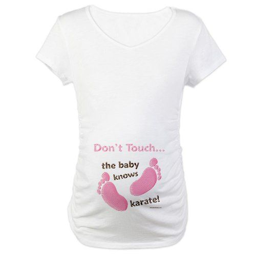 144f94086efe3 Amazon.com: Dont Touch Baby Knows Karate Funny Maternity Shirt Maternity T- Shirt by CafePress: Clothing