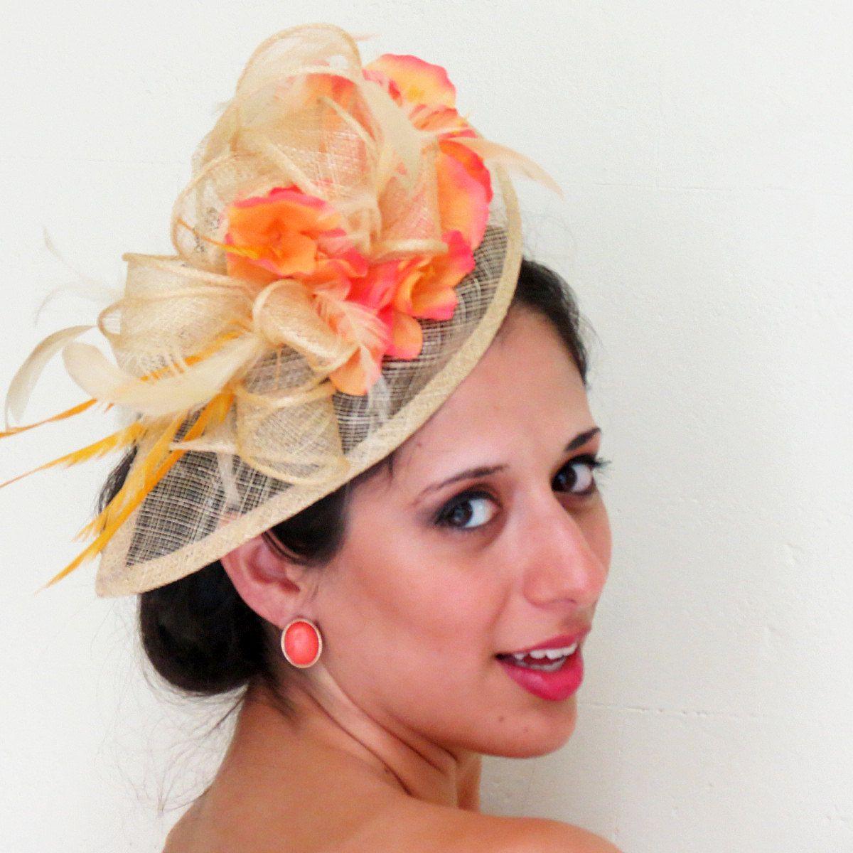 7611269fd2352 Black-Eyed Susan   Preakness - Fascinator peach salmon and orange natural  by FascinatorsFirst