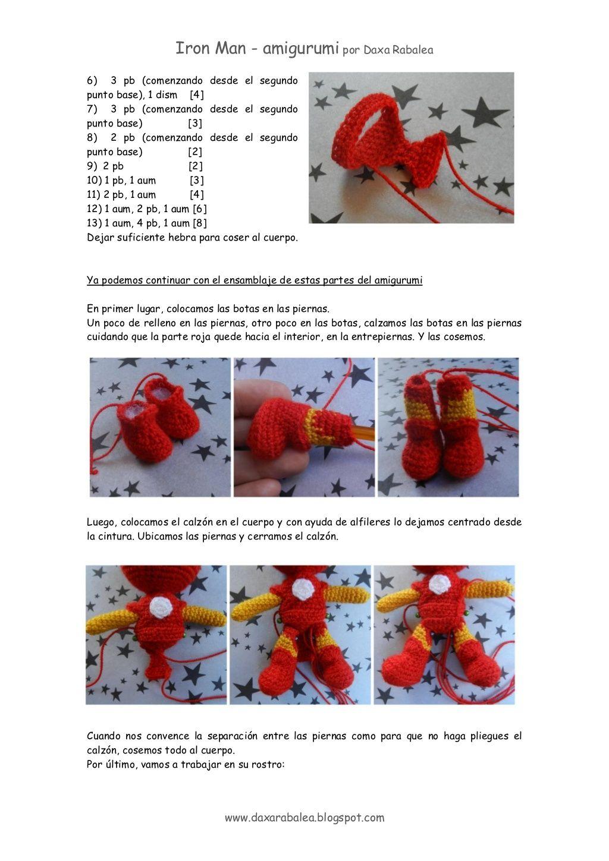 IRON MAN, DE GANCHILLO/CROCHET-PATRON 5/6 | Crochet Amigurumi ...