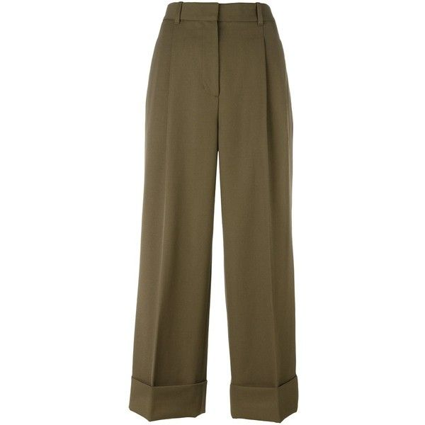 3.1 Phillip Lim cropped wide leg trousers ($630) ❤ liked on Polyvore featuring pants, capris, green, high waisted pants, high-waisted wide leg pants, pleated wide leg pants, green pants and high-waisted trousers