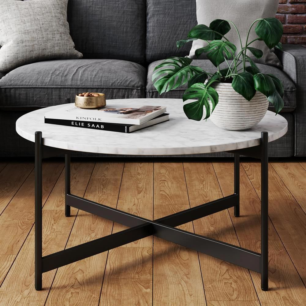 Nathan James Piper 36 In White Black Medium Round Faux Marble Coffee Table 31501 The Home Depot In 2020 Coffee Table Living Room Modern Decorating Coffee Tables Coffee Table [ 1000 x 1000 Pixel ]