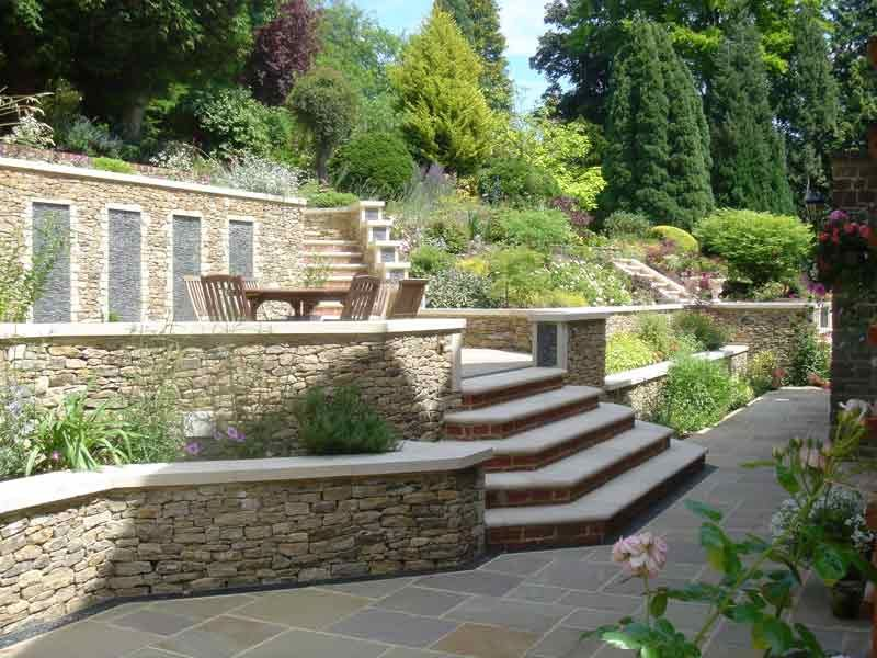 Terraces and stone garden walls for a steeply sloped for Small sloping garden designs