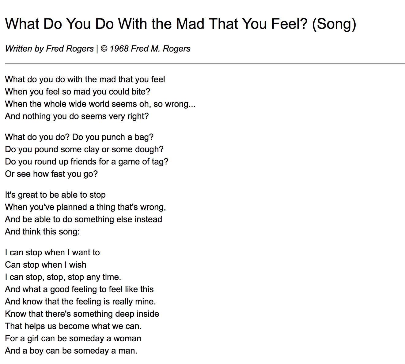 Mr Rogers What Do You Do With The Mad That You Feel Lyrics Feeling Song Mr Rogers Song How Are You Feeling