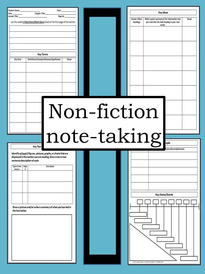 NoteTaking Template For NonFiction Texts  Cornell Notes High
