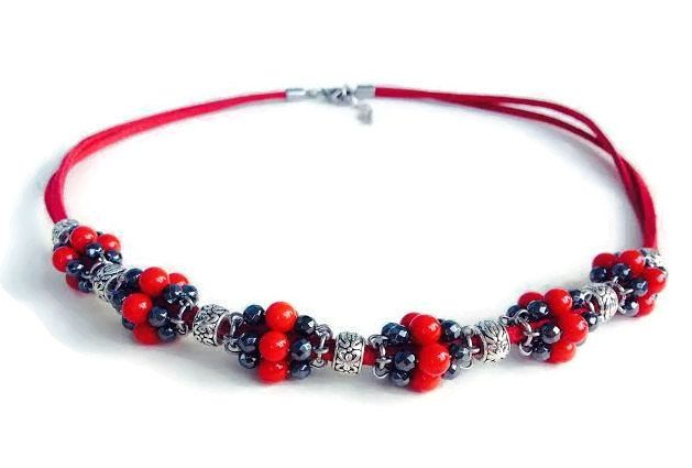 Red and Black  Handmade Necklace with Coral Beads, Hematite Beads and Suede Cords by gamajewelry on Etsy