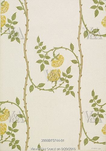 The Rosamund Decoration wallpaper, by Walter Crane (1845-1915). Block-printed paper. England, 1909. (Victoria and Albert Museum)