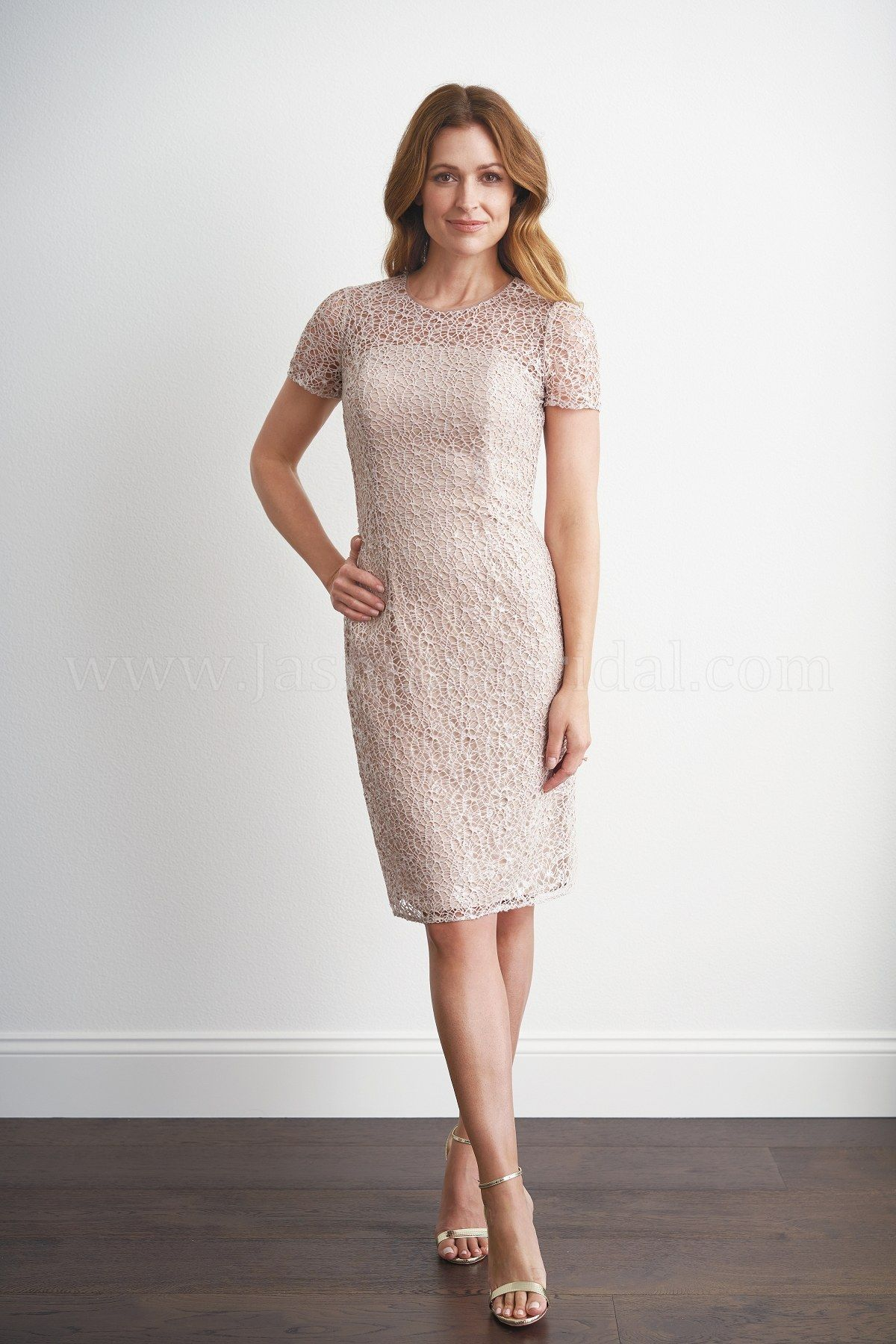 Casual mother of the groom dresses for outdoor wedding  M Knee Length Jewel Neckline Grace Sequin Lace with Stretch