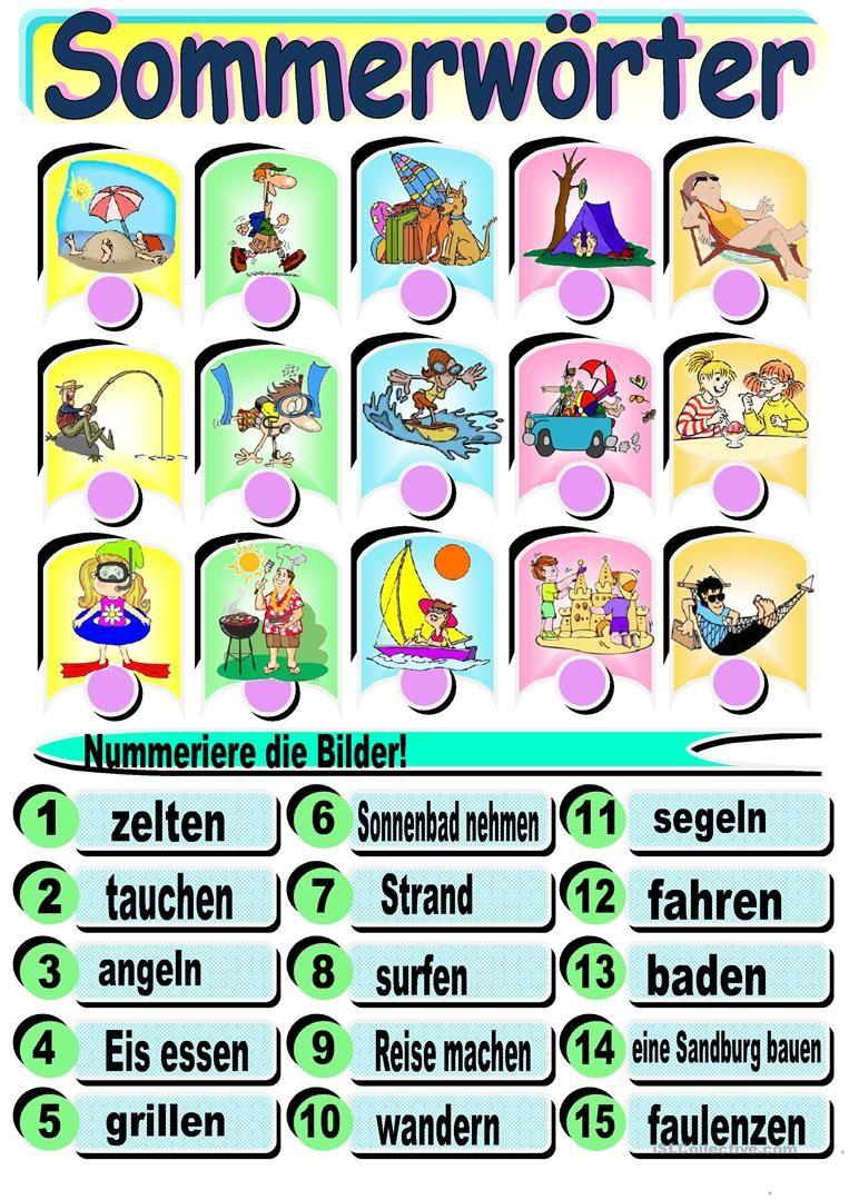 Sommerwörter   Tysk grammatik og ordforråd   Pinterest   Worksheets