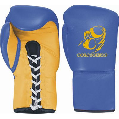GB-200125 Boxing Gloves, Cowhide Leather, Blue and Yellow Colour, Machine Mold, Laces Fastener.