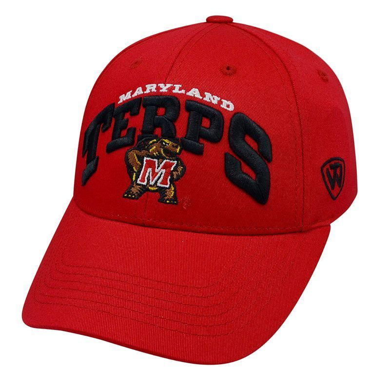 Adult Top of the World Maryland Terrapins Whiz Adjustable Cap, Med Red
