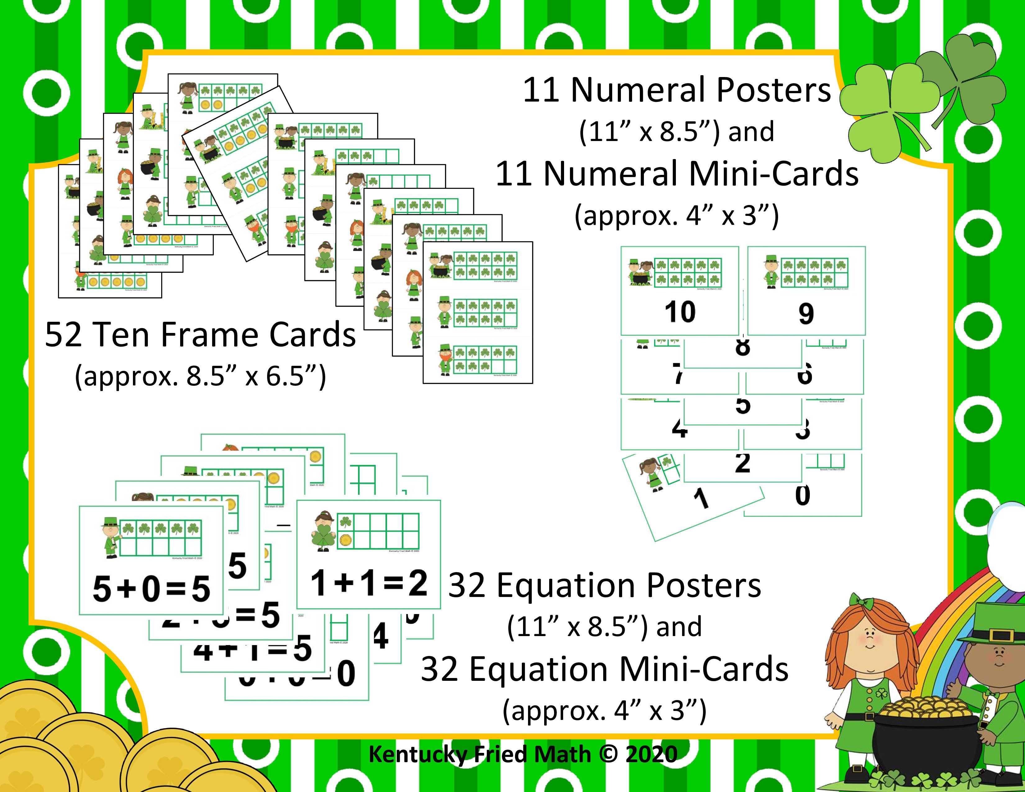 St Patrick S Day Ten Frames Amp Equations Cards Posters For