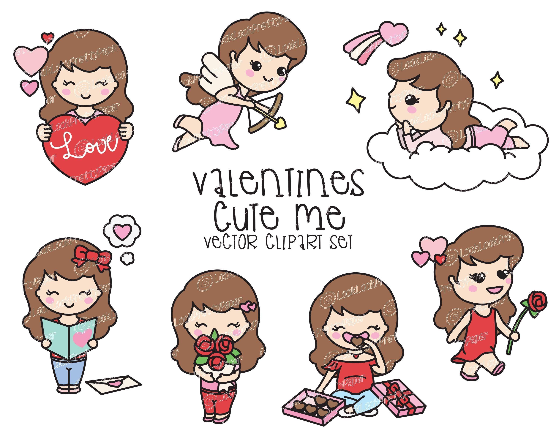 Premium Vector Clipart Kawaii Valentines Day Cute Me Etsy Kawaii Valentine Clip Art Vector Clipart