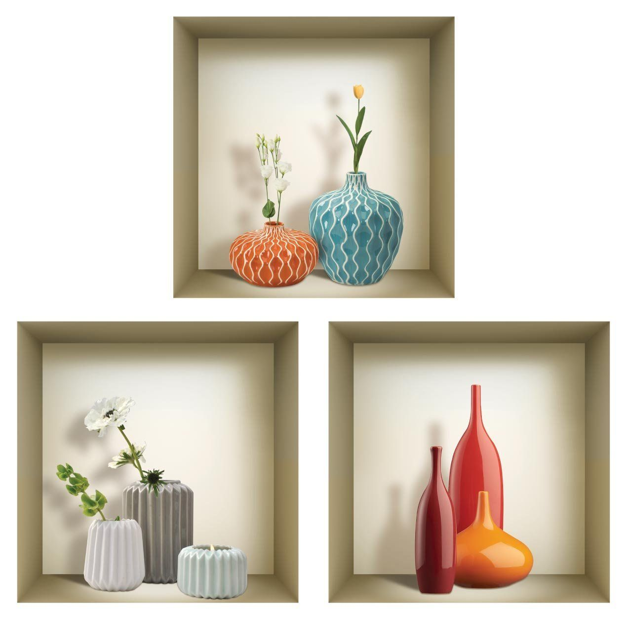 amazon com 3d wall art niche sticker set 3d wall decor on wall stickers for living room id=81366