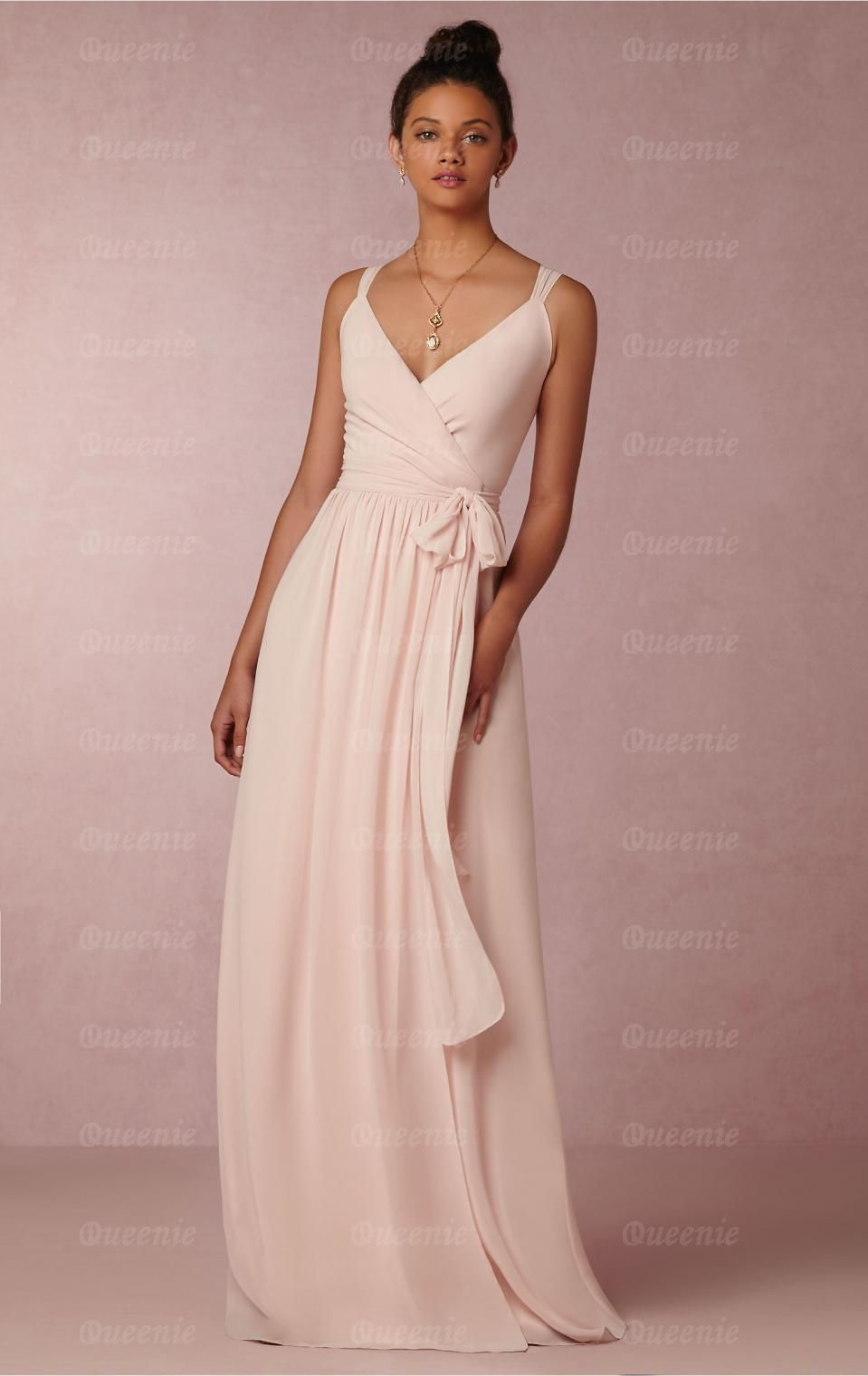 Designer Light Pink Long Bridesmaid Dress Bnnde0000 Uk