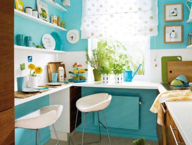 Imagen paredes-pintadas-turquesa-cocina-pequena del artículo Ideas ...